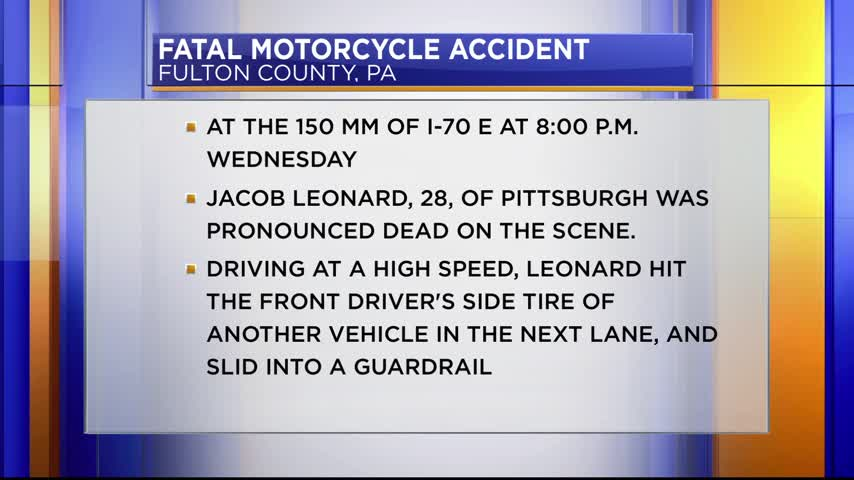 Fatal motorcycle accident on I-70 in Pa