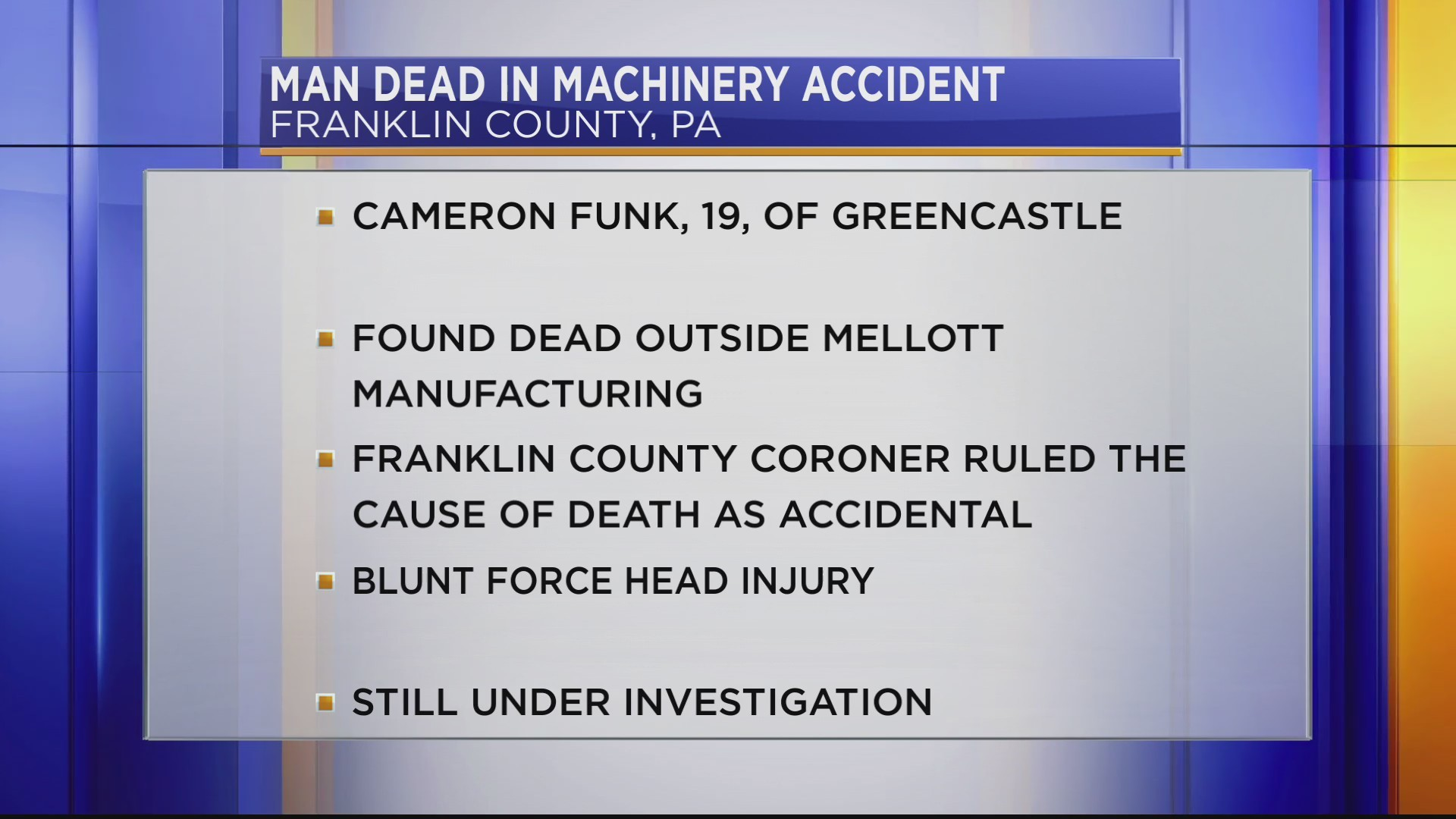 Greencastle man died in a machinery accident