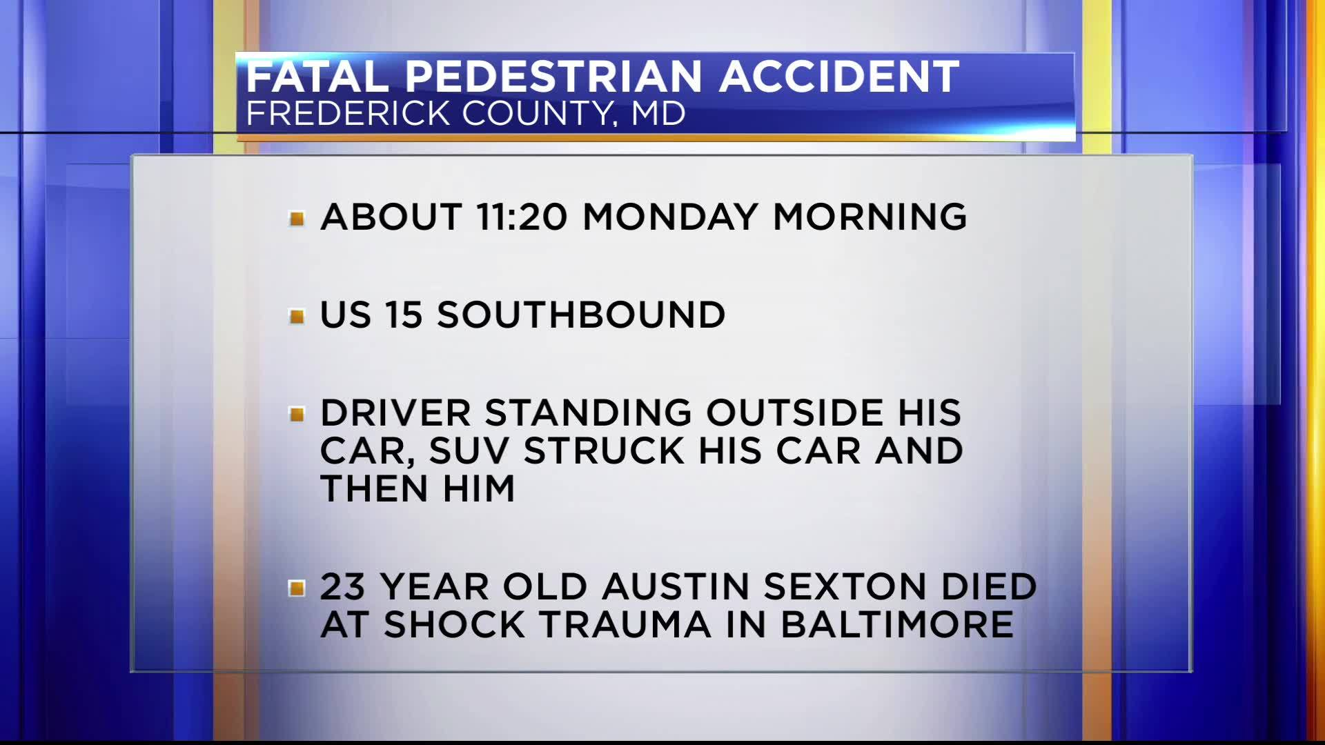 Fatal pedestrian accident in Frederick County, MD