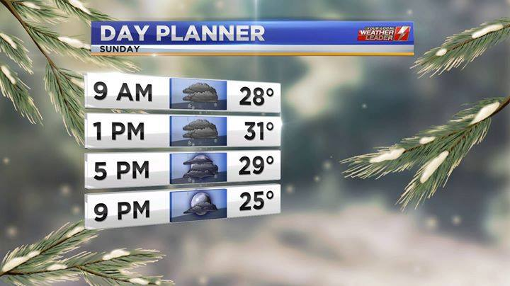 Day Planner Forecast for Sunday 13 January 2019