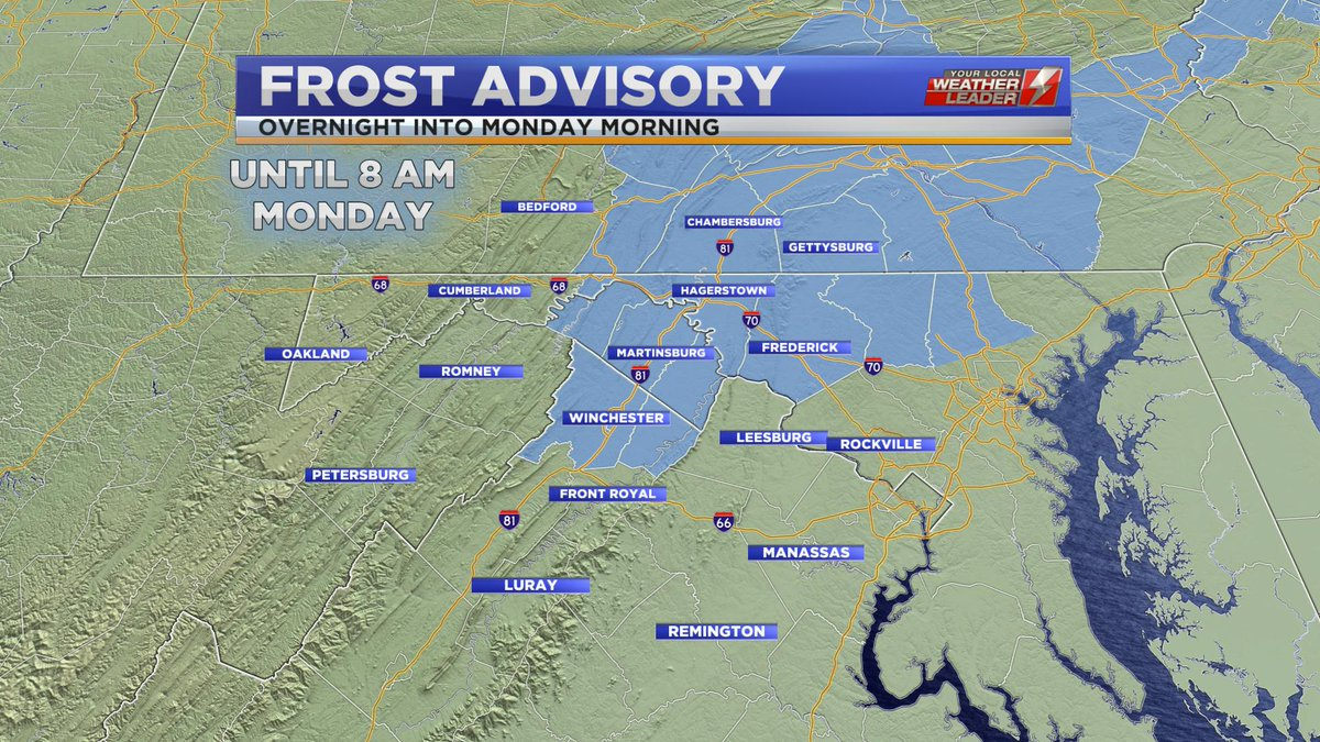 Frost Advisory is in effect until 8 AM Monday 29 April 2019