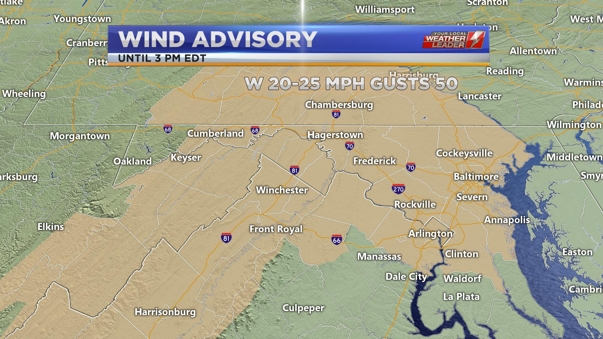 Wind Advisory Saturday 27 April 2019 until 3 PM EDT