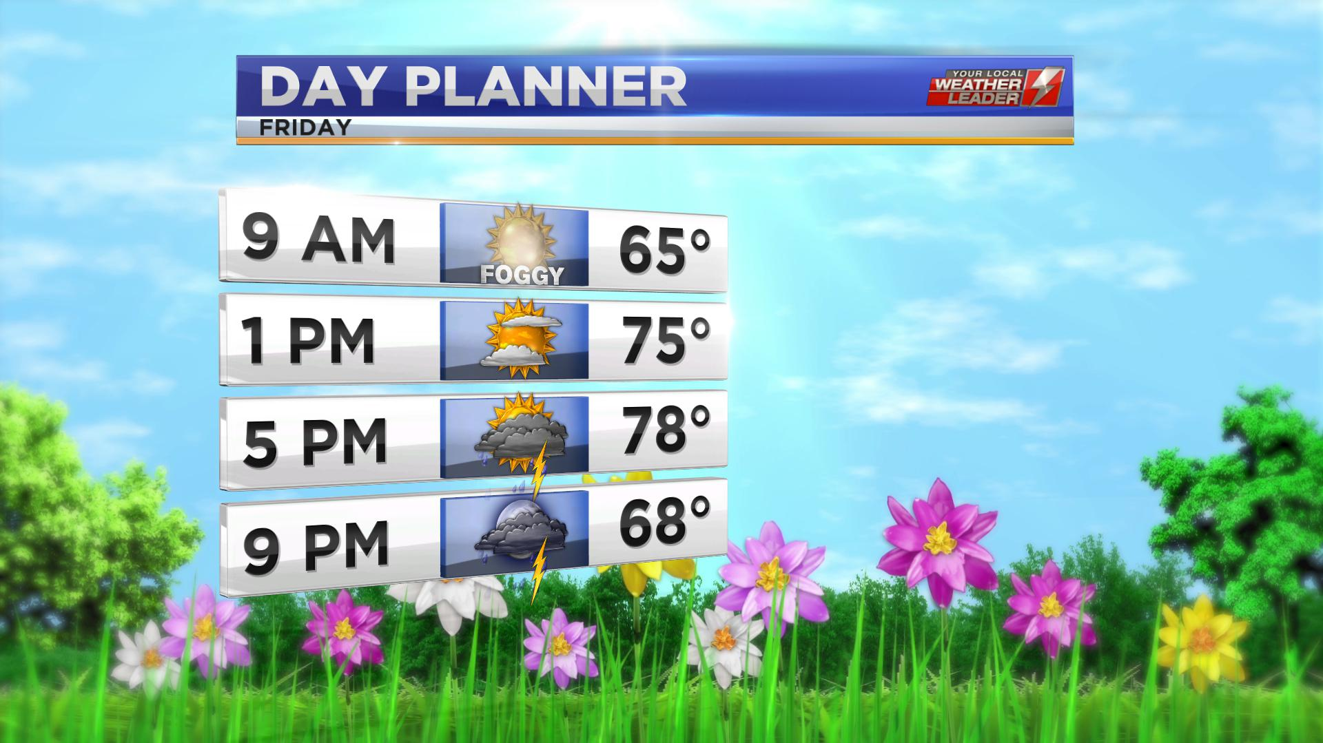 Day Planner Forecast for Friday 03 May 2019
