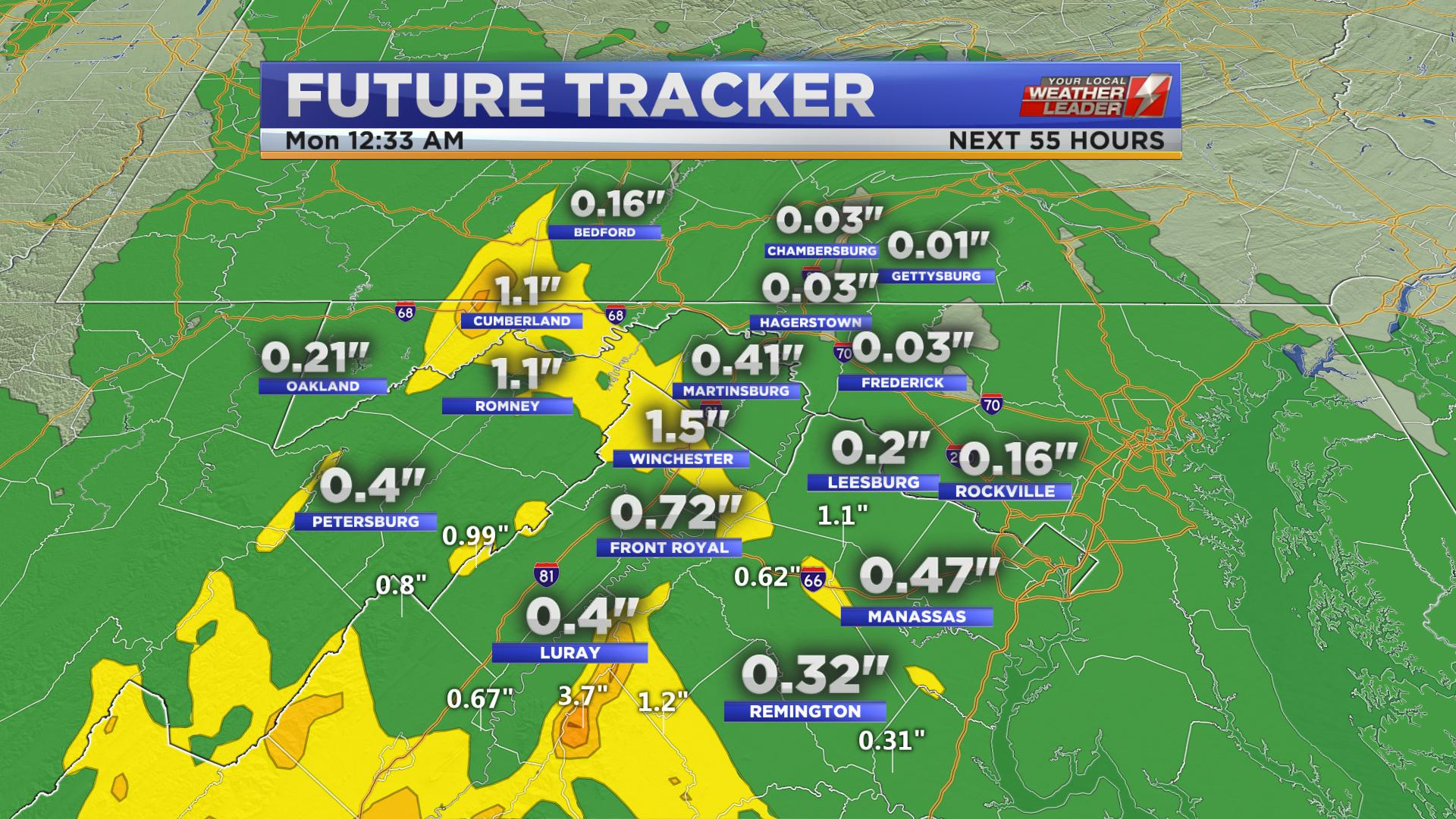 Rainfall possible for Sunday 09 June 2019