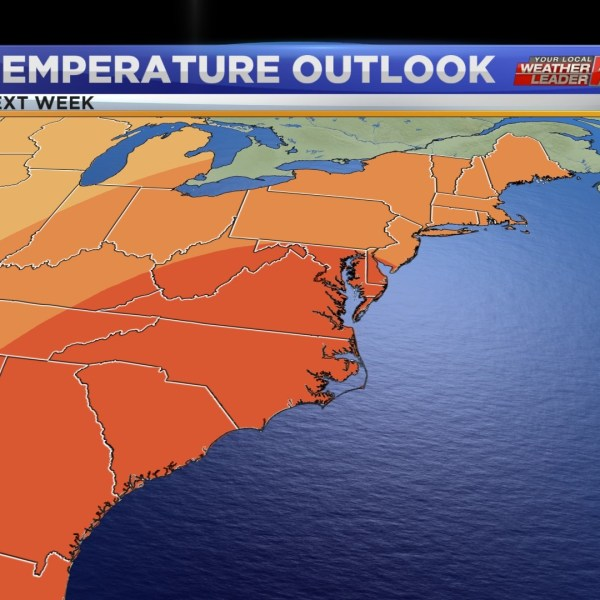 While this graphic is for not this week but next week, it is still very telling to where we will be as we head into the middle part of this week with highs near 60!