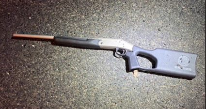 The alleged weapon used in a homicide by an armed suspect shot by police in Northeast D.C. Friday